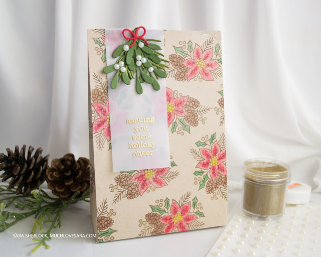 This gift bag was created using stamps and dies from the Concord & 9th Stocking Stuffers bundle.  Find the full details, including a template for the bag, and a supply list, on the blog.