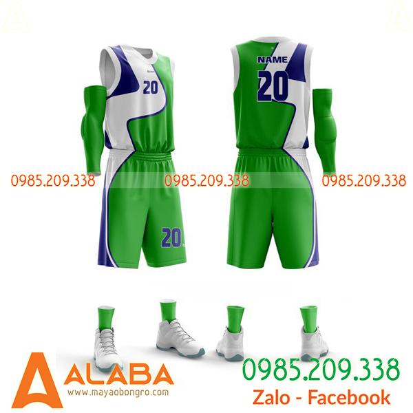 Áo bóng rổ màu xanh lá tự thiết kế độc
