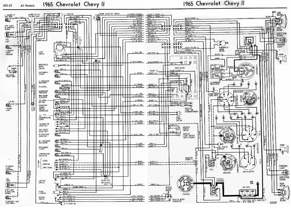 chevrolet chevy ii 1965 complete electrical wiring diagram all about wiring diagrams. Black Bedroom Furniture Sets. Home Design Ideas