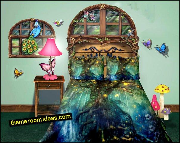 Fantasy Forest Fairies Butterflies Headboard Wall Decal  Forest bedding