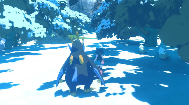 Pokémon Diamond Pearl reimagined remake trailer running wild Snover overworld following Empoleon