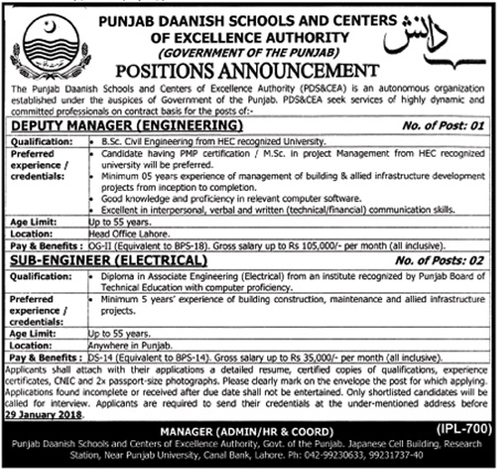 Daanish Schools And Center Of Excellence Authority Lahore jobs 2018