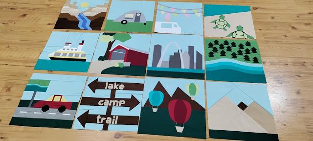 All 12 quilt blocks in Destination: Quilt Along