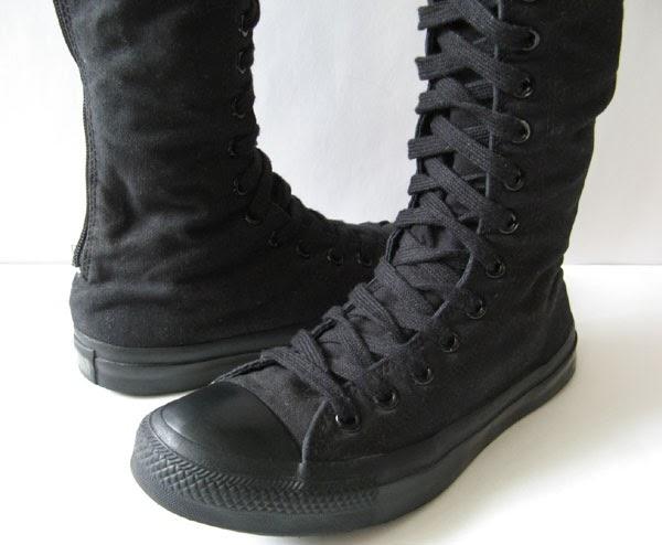 Converse Black Knee High Sneakers Tall Black Chuck Taylor