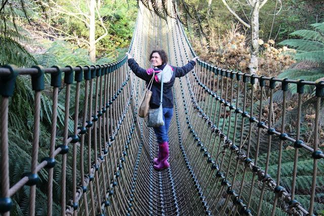 Naomi Slade on the rope bridge at Heligan
