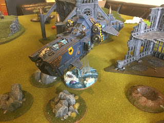 40k SW vs GSC Stormfang Gunship flies west off the board