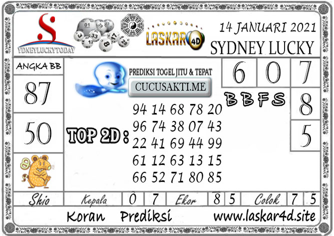 Prediksi Sydney Lucky Today LASKAR4D 14 JANUARI 2021