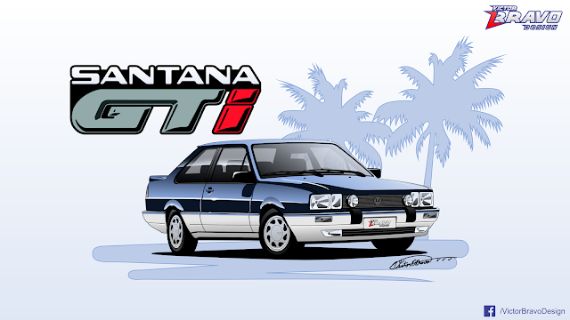 Desenho do Volkswagen Santana 1988 GTi
