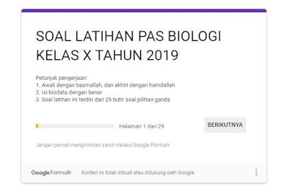 Soal Latihan PAS Mata Pelajaran Biologi SMA Kelas 10 Tahun 2019