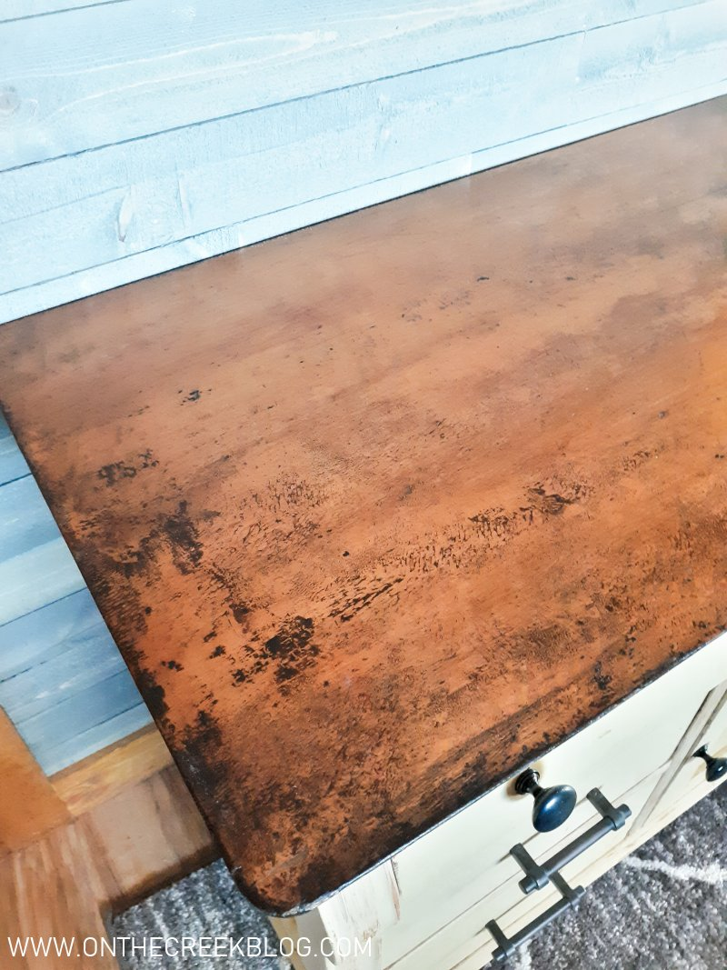 A rustic/primitve wash stand makeover | On The Creek Blog