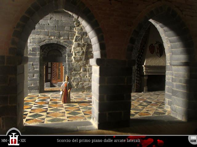 Scorcio del primo piano dalle arcate laterali