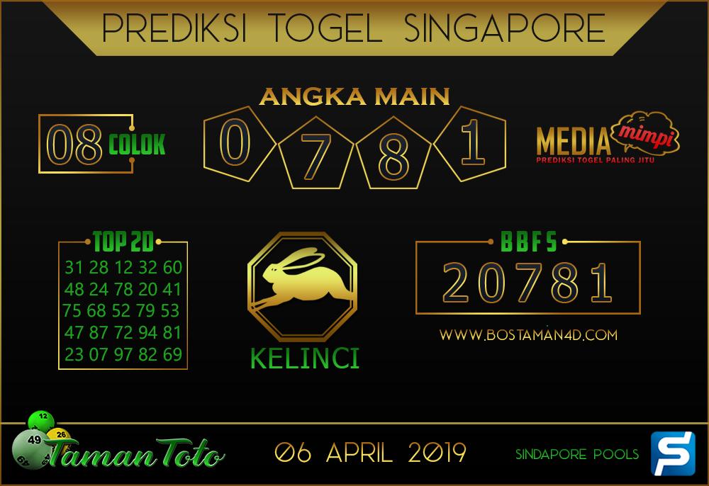 Prediksi Togel SINGAPORE TAMAN TOTO 06 APRIL 2019