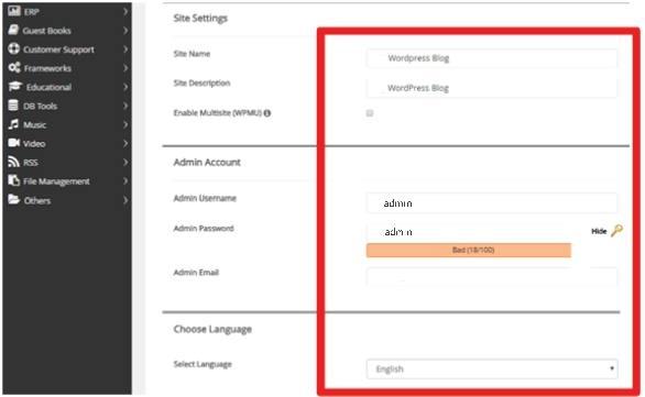 Insertion of website details