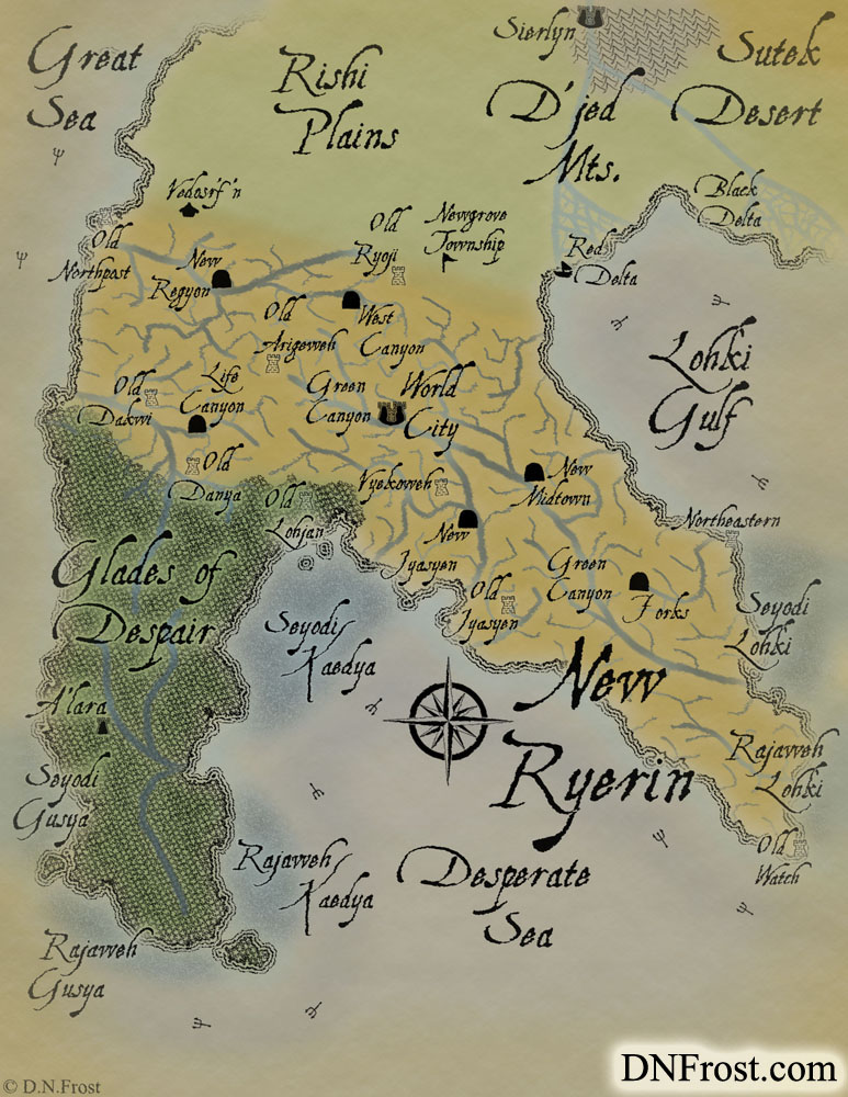 New Ryerin: canyonland of the fallen tree elves www.DNFrost.com/maps #TotKW A map for Broken by D.N.Frost @DNFrost13 Part of a series.