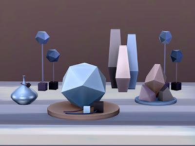Facet Geometric Decor set Набор геометрических декоров Facet для The Sims 4 Наполните свой дом предметами декора с чистой линией, так как простота считается истинной сущностью современной жизни. Вырезано вручную из редкого космического камня. В комплект входят 5 предметов. Автор: soloriya