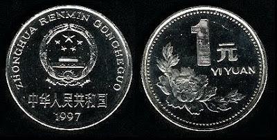 China 1 Yuan (1991-1998) Coin
