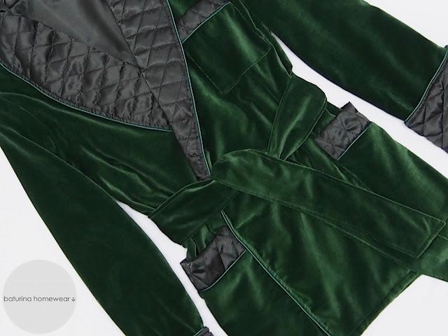 luxury velvet men's smoking jacket quilted silk shawl collar gentleman robe dressing gown