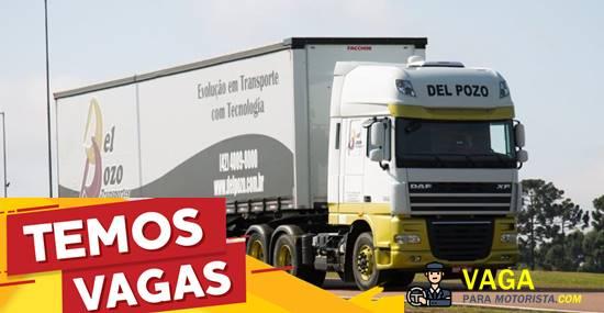 Transportadora Del Pozo abre vagas para Motorista Carreteiro.