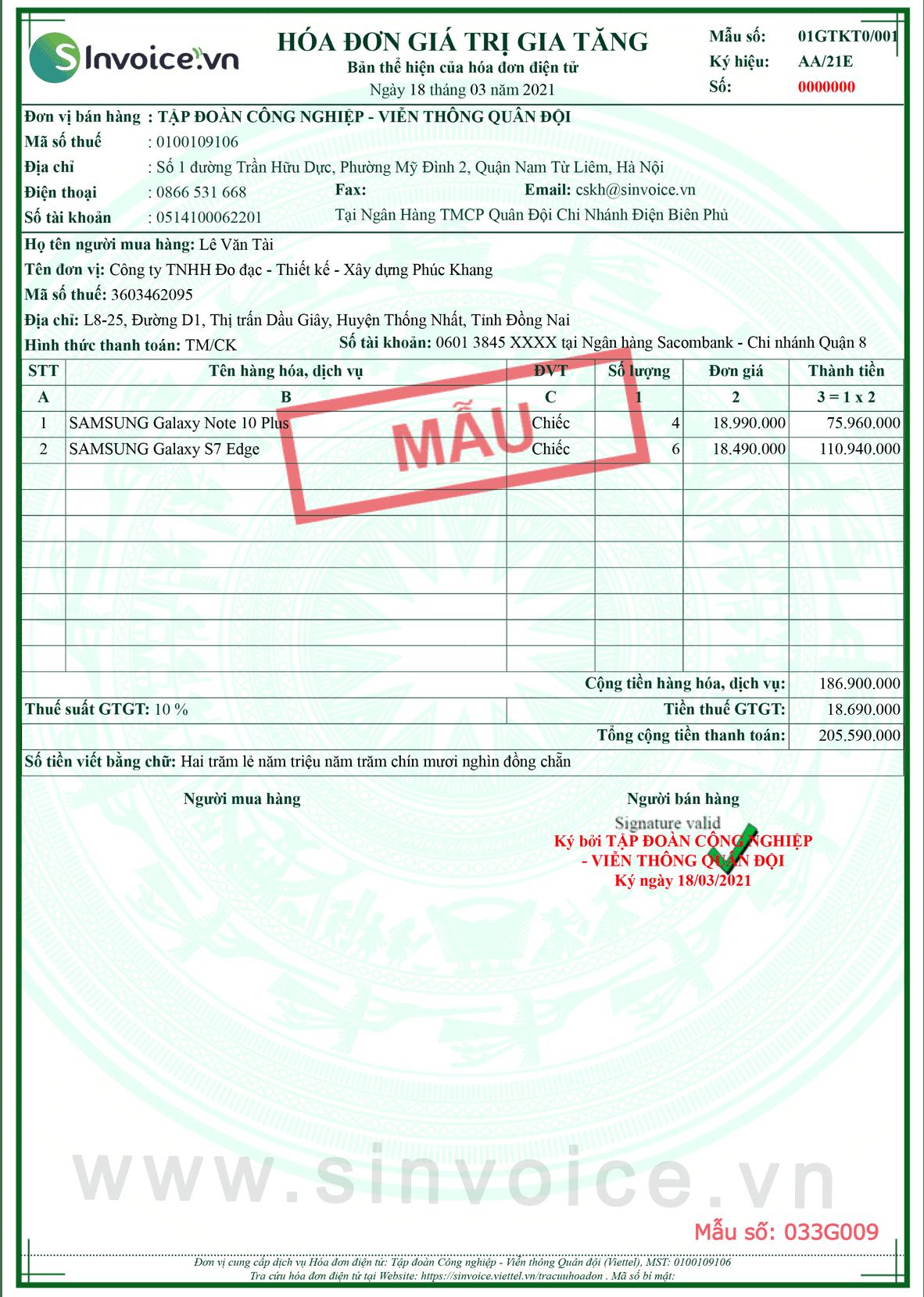 Mẫu hóa đơn điện tử số 033G009