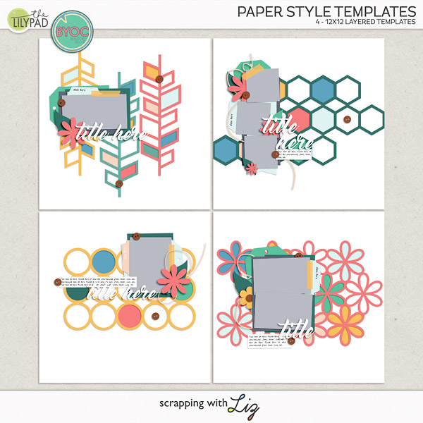 Digital Scrapbook Paper Style Templates