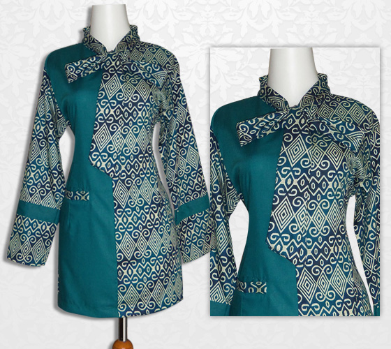 Model Baju Batik Kerja Atasan Muslim: Model Baju Atasan Wanita Muslim Batik Bahan Sifon Modis