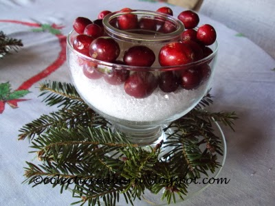 Eclectic Red Barn: Candle centerpiece with epsom salt and cranberries