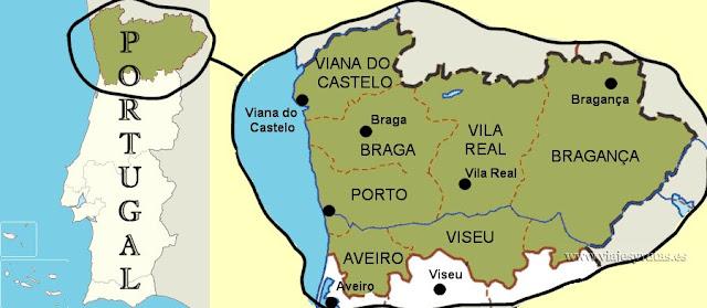 mapa de la zona norte de Portugal