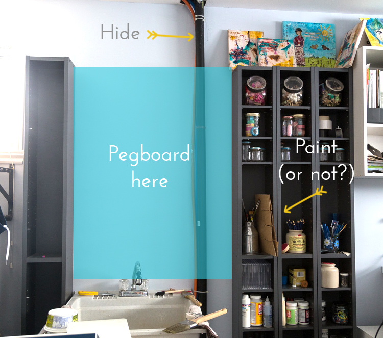 Hide a pipe | pegboard in craftroom | how to hang a pegboard | DIY | Hooks on pegboards