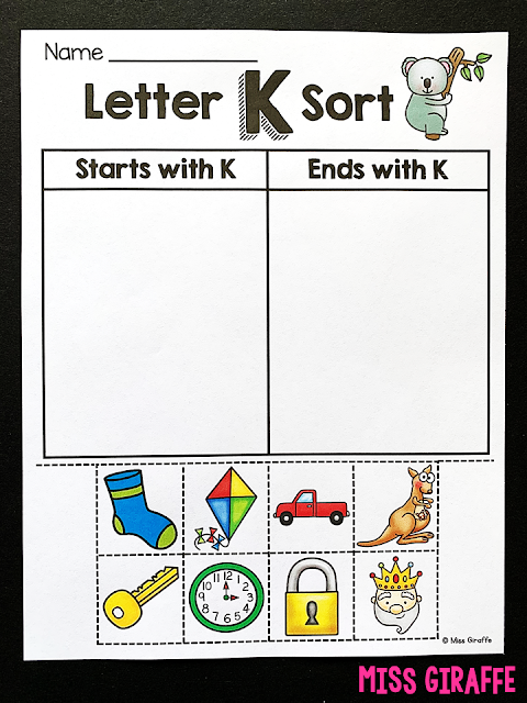Beginning and Ending Sounds Activities where kids sort pictures! This is an amazing consolidation for the learning you've done on letters!