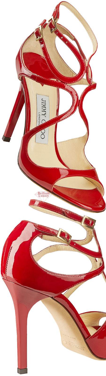 Jimmy Choo Lang Red Patent Leather Strappy Sandals #brilliantluxury