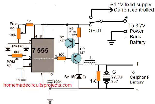 Power bank circuitusing IC555 boost circuit