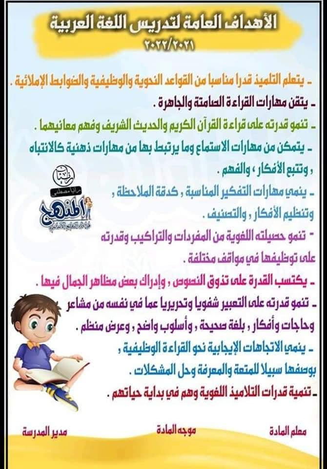 منهج اللغة العربية الصف الرابع الابتدائي ترم اول 2022 14