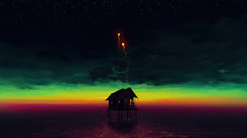 Sea, Hut, Night, Scenery, 4K, #4.3054