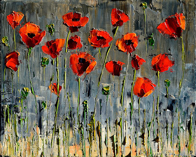 Poppies Art Floral Painting Flower Paintings Texture by Debra Hurd