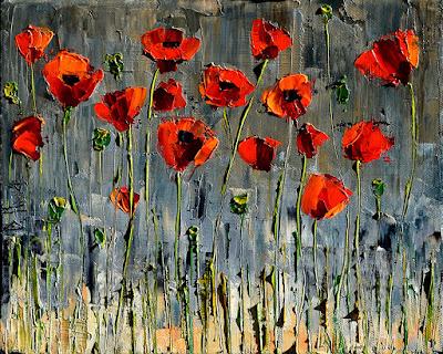 Poppies Art Floral Painting Flower Paintings Texture by Debra Hurd