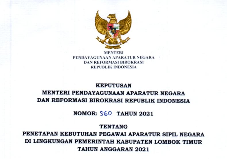 gambar formasi cpns lombok timur 2021