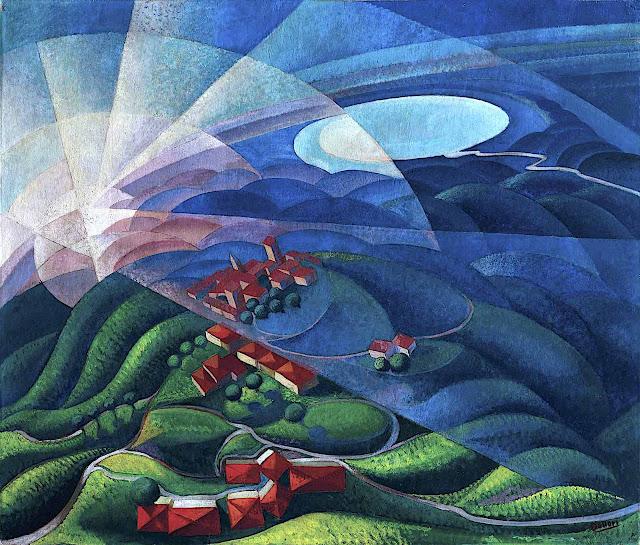 a Gerardo Dottori painting, landscape with sun