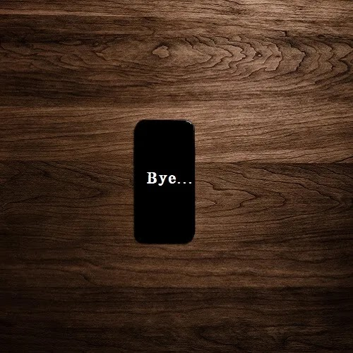 message on phone is bye DP for girl