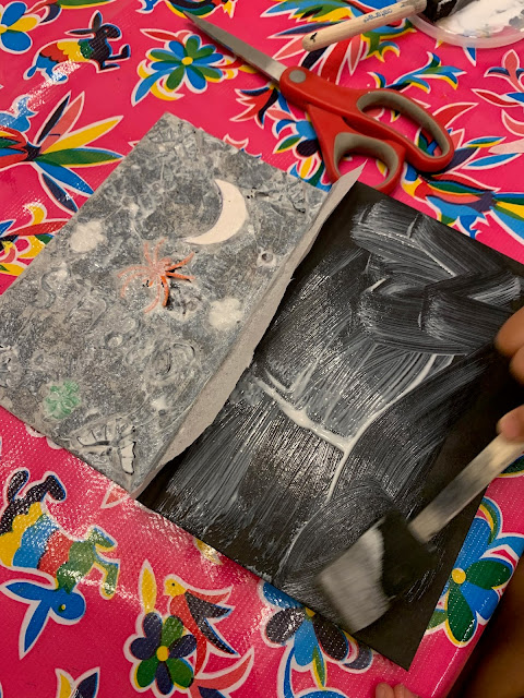 How to Make a DIY Mod Podge and Tissue Paper Spell Book Craft Prop Decor with Kids for Halloween