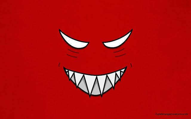 Red desktop wallpaper with an evil grinning face. Resolution 1920x1200. Created by Boriana Giormova