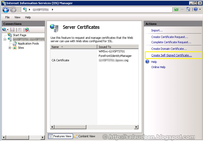 generate Self-Signed ssl certificate for sharepoint in IIS