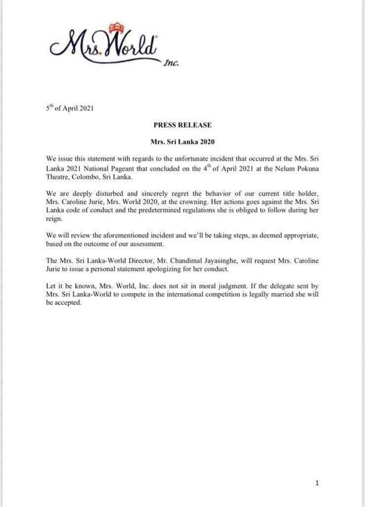 Mrs. Sri Lanka Pageant Controversy: