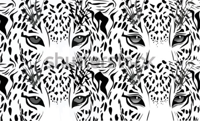 black and white illustration tiger