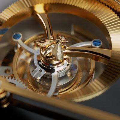 Nueva pieza de alta relojería, de Gucci. Modelo dorado con negro.