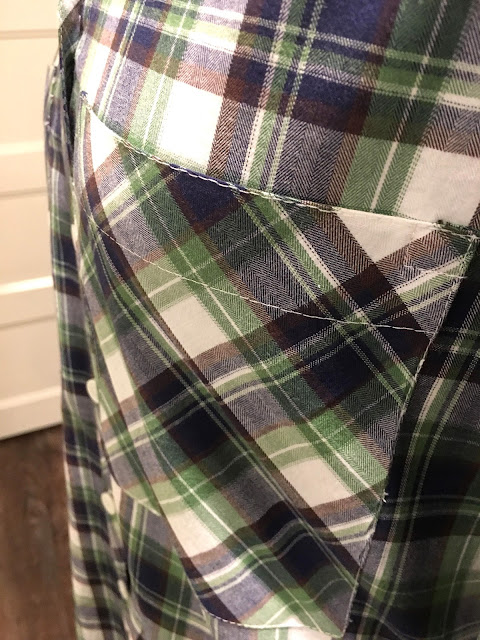 Mood Fabrics' plaid flannel Archer shirts- pocket detail