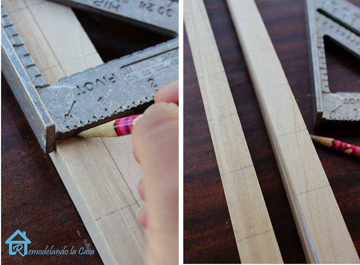 Measuring the dowels for making holes