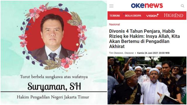 PN Jaktim Benarkan Anggota Majelis Hakim yang Vonis HRS 4 Tahun Penjara, Meninggal Dunia