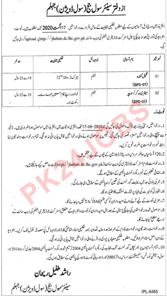 Civil Court Jhelum Jobs 2020 Ad / Advertisement