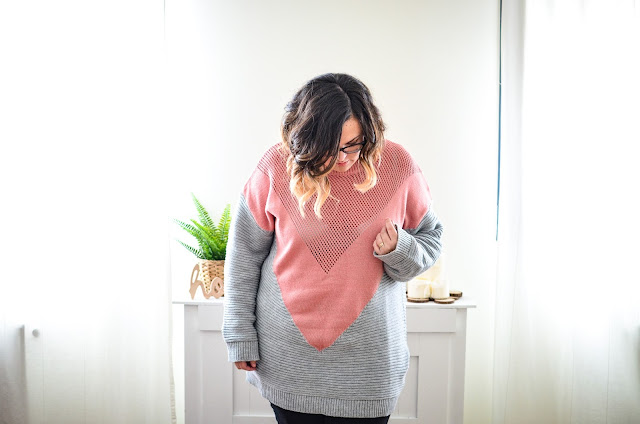 Jersey oversize rosa y gris Shein