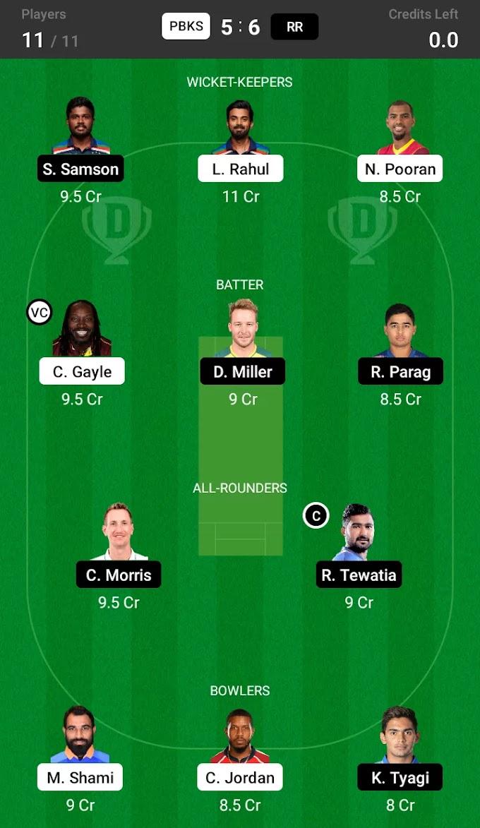 IPL 2021 PBKS VS RR Dream 11 Team Prediction, Pitch report   पंजाब किंग्स आणि राजस्थान रॉयल्स Playing 11